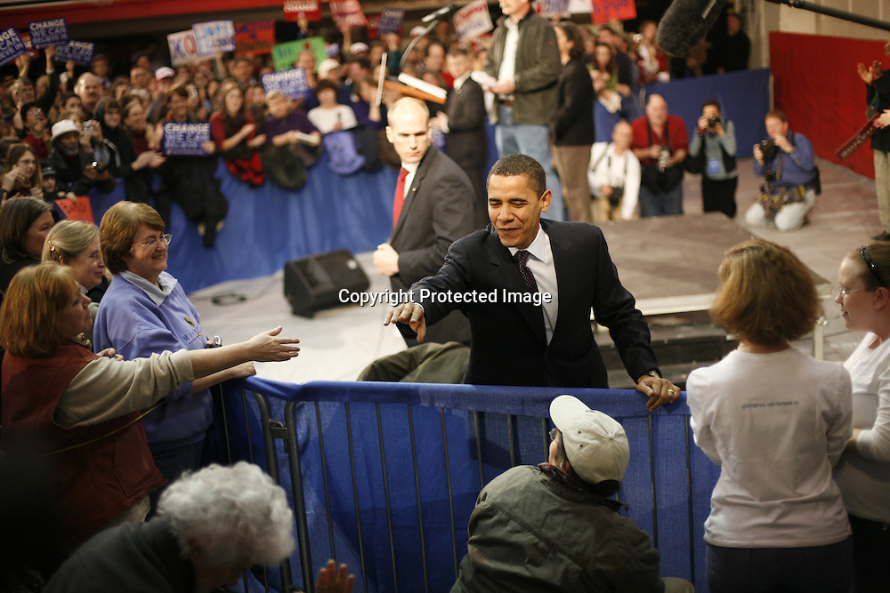 U.S. Democratic Presidential candidate Senator Barack Obama (D-IL) greets during a campaign stop in Claremont, New Hampshire January 7, 2008.