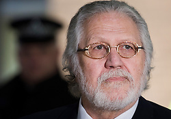 © London News Pictures. 13/02/2014. London, UK. Dave lee Travis speaking to media outside Southwark Crown  after being  found not guilty of 12 counts of indecent assault. . Photo credit : Ben Cawthra/LNP