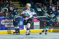 KELOWNA, CANADA - APRIL 25: Carsen Twarynski #18 of the Kelowna Rockets skates against the Seattle Thunderbirds on April 25, 2017 at Prospera Place in Kelowna, British Columbia, Canada.  (Photo by Marissa Baecker/Shoot the Breeze)  *** Local Caption ***