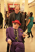 GEORGE MELLY AND MICHAEL WOODS, Surreal Things: Surrealism And Design. Victoria & Albert Museum, London. 27 March 2007. Exhibition shows how surrealism has evolved and its influence on modern design by bringing together works for the first time, including Dali's Mae West's Lips sofa and Schiaparelli's tear dress.  -DO NOT ARCHIVE-© Copyright Photograph by Dafydd Jones. 248 Clapham Rd. London SW9 0PZ. Tel 0207 820 0771. www.dafjones.com.