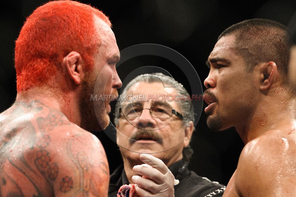 "BIRMINGHAM, ENGLAND, NOVEMBER 5, 2012: Chris Leben (left) and Mark Munoz talk after the end of their fight at ""UFC 138: Munoz vs. Leben"" inside the National Indoor Arena in Birmingham, United Kingdom"