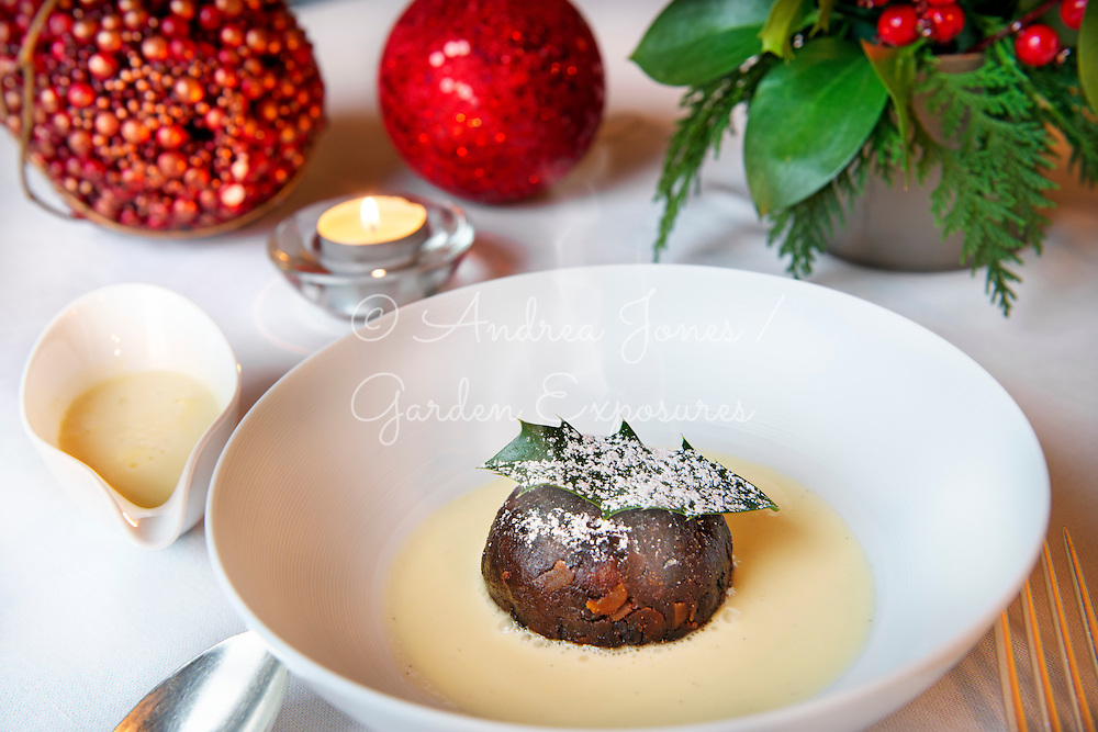 Traditional Christmas pudding at Ballyfin Hotel
