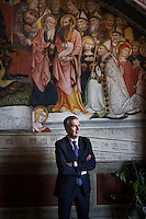 SIENA, ITALY - 20 MARCH 2015: Mayor of Siena Bruno Valentini (59) poses for a portrait at Palazzo Pubblico (or Palazzo del Comune, City Hall) in Siena, Italy, on March 20th 2015.<br /> <br /> Siena, a Tuscan city and UNESCO World Heritage Site, is home to Monte dei Paschi di Siena, the world's oldest surviving bank and Italy's third largest bank. The bank, founded in 1472, was the largest employer in Siena, and it helped finance a host of community projects and services until it stumbled during the financial crisis started in 2008.