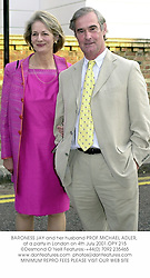 BARONESS JAY and her husband PROF.MICHAEL ADLER, at a party in London on 4th July 2001.OPY 215
