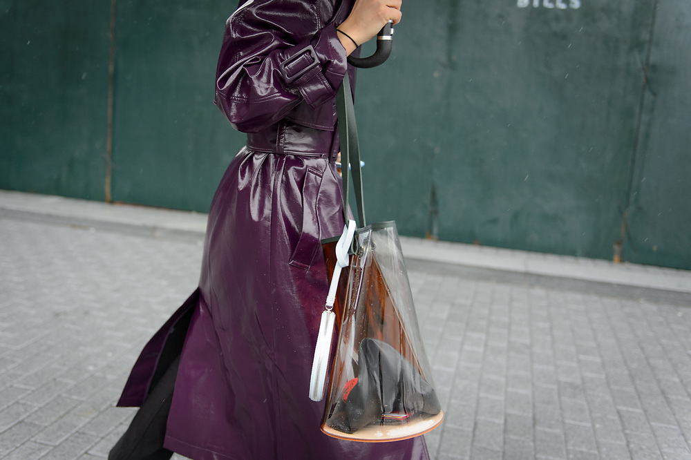 Shiny Trench Coat and Waterproof Bag, Outside Tibi FW2018