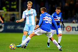 Italian Championship soccer 2017/2018 Sampdoria vs Lazio. 03 Dec 2017 Pictured: Luis Alberto of SS Lazio battles for the ball with Gaston Ramirez of UC Sampdoria during the italian championship serie a match between UC Sampdoria and SS Lazio played at Luigi Ferraris stadium in Genoa, on December 03, 2017. Photo credit: Massimo Cebrelli / MEGA TheMegaAgency.com +1 888 505 6342