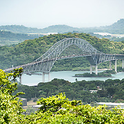 A view of the Bridge of the Americas, spanning the Panama Canal, from the top of Ancon Hill. Ancon Hill is only 654-feet high but commands an impressive view out over the new and old sections of Panama City. With views out over both the Pacific Ocean and the entrance to the Panama Canal, the area was historically where the administration of the Panama Canal was centered and now has a mix of high-end residences and government departments.