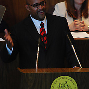 Detroit Mayor Ken Cockrel, Jr, addresses the public in the City County Building auditorium on Friday, September 19, 2008