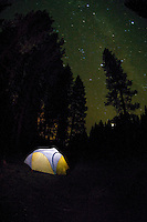 Illuminated Tent under a Night Sky<br /> <br /> Shot in Oregon, USA
