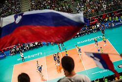 during volleyball match between National teams of Slovenia and Finland in 2nd Round in Group C of 2019 CEV Volleyball Men's European Championship in Ljubljana, on September 14, 2019 in Arena Stozice. Ljubljana, Slovenia. Photo by Grega Valancic / Sportida