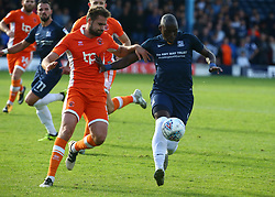 September 30, 2017 - Southend, England, United Kingdom - Marc-Antoine Fortune of Southend United holds Blackpool's Clark Robertson.during Sky Bet League one match between Southend United against Blackpool at  Roots Hall,  Southend on Sea England on 30 Sept  2017  (Credit Image: © Kieran Galvin/NurPhoto via ZUMA Press)