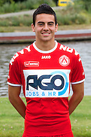 Kortrijk's Gregory Mahau poses for the photographer during the 2014-2015 season photo shoot of Belgian first league soccer team KV Kortrijk, Tuesday 08 July 2014 in Kortrijk.