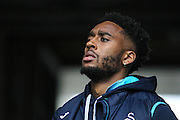 Leroy Fer of Swansea City arrives at the ground, before the Premier League match between Swansea City and Burnley at the Liberty Stadium, Swansea, Wales on 4 March 2017. Photo by Andrew Lewis.