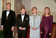 "President Bill Clinton (L) stands with Czech President Vaclav Havel, first lady Hillary Clinton and Dagmar Havlova (R), wife of President Havel during the arrival at the State dinner September 16, 1998 in Washington, DC.  Havel, the former dissident playwright who led Czechoslovakia's 1989 ""Velvet Revolution"" against communism and then served as his country's president, died December 18, 2011.  He was 75."