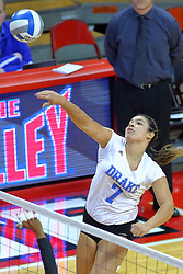 23 November 2017:  Odessa Cody attacks during a college women's volleyball match between the Drake Bulldogs and the Indiana State Sycamores in the Missouri Valley Conference Tournament at Redbird Arena in Normal IL (Photo by Alan Look)
