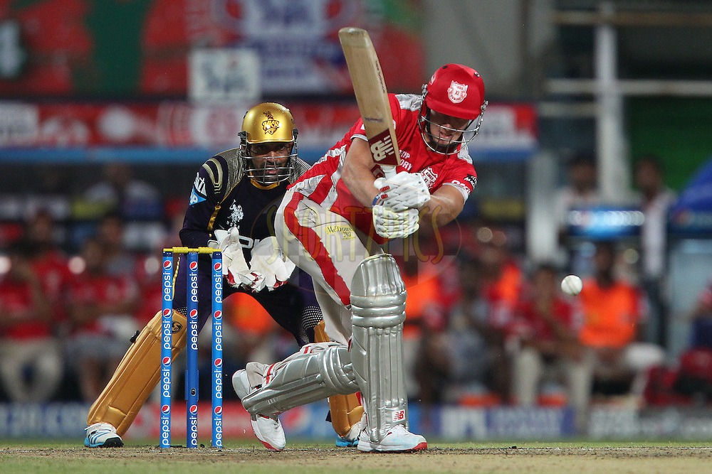 David Miller of the Kings X1 Punjab mis times a delivery from Piyush Chawla of the Kolkata Knight Riders during the first qualifier match (QF1) of the Pepsi Indian Premier League Season 2014 between the Kings XI Punjab and the Kolkata Knight Riders held at the Eden Gardens Cricket Stadium, Kolkata, India on the 28th May  2014<br /> <br /> Photo by Ron Gaunt / IPL / SPORTZPICS<br /> <br /> <br /> <br /> Image use subject to terms and conditions which can be found here:  http://sportzpics.photoshelter.com/gallery/Pepsi-IPL-Image-terms-and-conditions/G00004VW1IVJ.gB0/C0000TScjhBM6ikg
