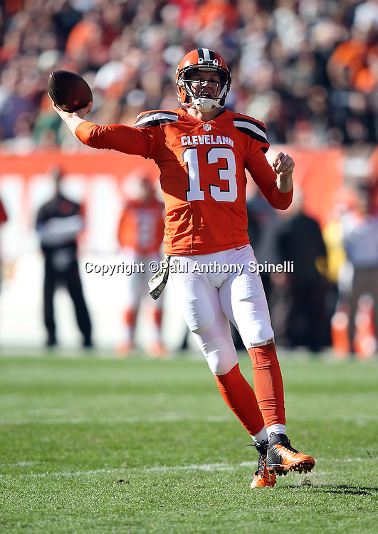 Cleveland Browns quarterback Josh McCown (13) throws a pass off his back foot during the 2015 week 8 regular season NFL football game against the Arizona Cardinals on Sunday, Nov. 1, 2015 in Cleveland. The Cardinals won the game 34-20. (©Paul Anthony Spinelli)
