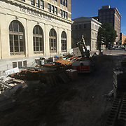 Construction is pictured November 10, 2019 on Front Street in Wilmington, N.C. (Jason A. Frizzelle/Cape Fear Photos)
