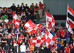 Supporters flags in the South Stand at Ashton Gate - Mandatory by-line: Paul Knight/JMP - 19/08/2017 - FOOTBALL - Ashton Gate Stadium - Bristol, England - Bristol City v Millwall - Sky Bet Championship