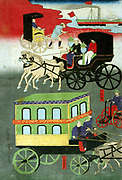 Panel from a triptych showing various forms of transportation: Paddle steamship, Rickshaw, Passenger carriage, Tricycle with pedal and chain drive, and horse-drawn cart. Utagawa Yoshitoro (active 1850-1870) Japanese artist.