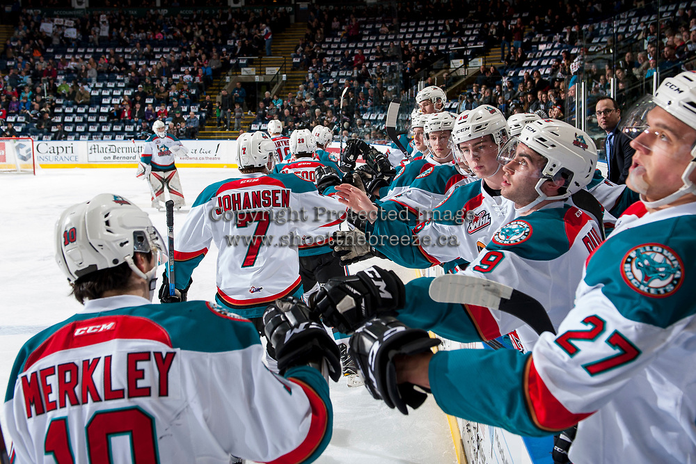 KELOWNA, CANADA - MARCH 10: Nick Merkley #10, Lucas Johansen #7, Nolan Foote #29, Erik Gardiner #12 and Carsen Twarynski #18 of the Kelowna Rockets celebrates a first period goal against the Vancouver Giants on March 10, 2017 at Prospera Place in Kelowna, British Columbia, Canada.  (Photo by Marissa Baecker/Shoot the Breeze)  *** Local Caption ***