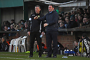 Havant & Waterlooville Manager Lee Bradbury discusses tactics during the Ryman Premier League match between Bognor Regis Town and Havant & Waterlooville FC at Nyewood Lane, Bognor, United Kingdom on 26 December 2016. Photo by Jon Bromley.