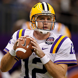 Jan 9, 2012; New Orleans, LA, USA; LSU Tigers quarterback Jarrett Lee (12) against the Alabama Crimson Tide before the 2012 BCS National Championship game at the Mercedes-Benz Superdome.  Mandatory Credit: Derick E. Hingle-US PRESSWIRE