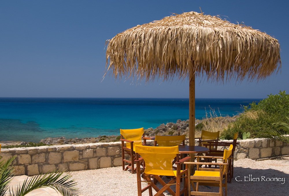 A table overlooking the beach and emerald seas at Phalassarna (Falassarna) in Western Crete, Greece