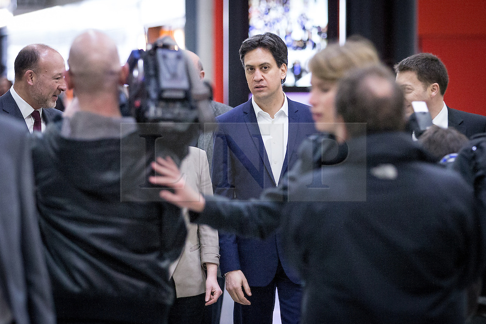 """© Licensed to London News Pictures . 01/03/2014 . London , UK . Ed Miliband arrives at the conference . The Labour Party hold a one day """" Special Conference """" at the Excel Centre in London today (Saturday 1st March 2014) . Photo credit : Joel Goodman/LNP"""