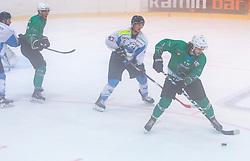 Janez Orehek (SZ Olimpija Ljubljana) and Miha Ahacic (Triglav Kranj) during the semifinal match of Ice Hockey Slovenia Cup bettwen HK Triglav Kranj and HK SZ Olimpija Ljubljana on September 7, 2018 in Kranj, Slovenia. Photo by Urban Meglic / Sportida