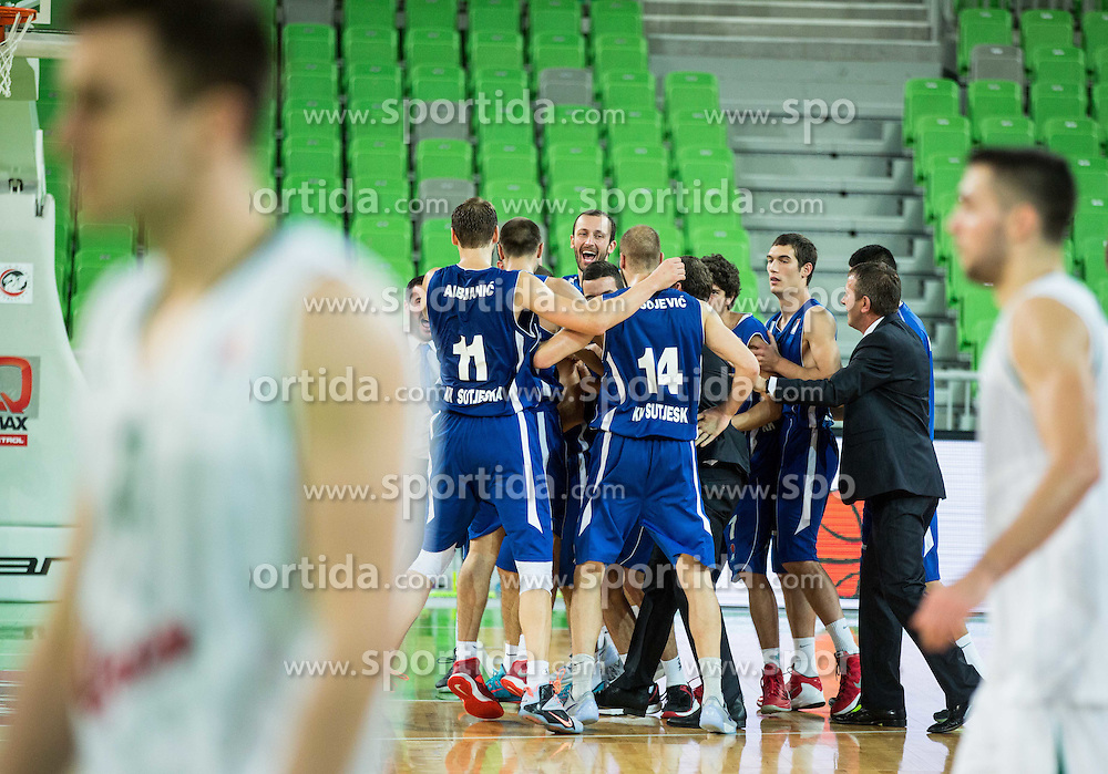 Players of Sutjeska celebrate after winning during basketball match between KK Union Olimpija Ljubljana and KK Sutjeska Niksic in Round #3 of ABA League 2015/16, on October 7, 2015 in Arena Stozice, Ljubljana, Slovenia. Photo by Vid Ponikvar / Sportida