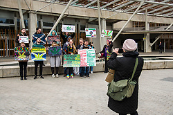 Pictured: <br /> Protesters gathered outside the Scottish Parliament while they waited on colleagues in meeting with MSPs and health car professionals who were putting forward the case to legalise medicinal cannabis.  Most had first hand experience of the benefits of using the drug under medical supervision.<br /> <br /> <br /> Ger Harley | EEm Date