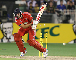 © Licensed to London News Pictures. 26/12/2013.  Tim Bresnan gets bowled during the 2nd T20 international between Australia Vs England at the Melbourne Cricket Ground, Victoria, Australia. Photo credit : Asanka Brendon Ratnayake/LNP