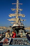 = Fish market on the old port   France   ///marche aux poissons sur le vieux port , trois mats le Belem ,marseille France  +