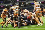 Edinburgh pressuring the try line during the Guinness Pro 14 2018_19 match between Edinburgh Rugby and Toyota Cheetahs at BT Murrayfield Stadium, Edinburgh, Scotland on 5 October 2018.