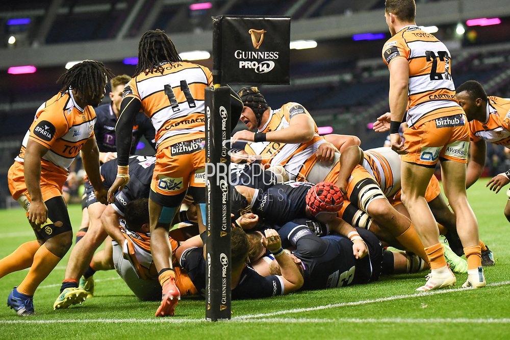 Edinburgh pressuring the try line during the Guinness Pro 14 2018_19 match between Edinburgh Rugby and Toyota Cheetahs at BT Murrayfield Stadium, Edinburgh, Scotland on 5 October 2018.