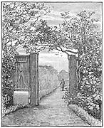 Charles Darwin (1809-1882), English naturalist. Evolution by Natural Selection. Darwin in his garden at Down House, near Beckenham, Kent. Engraving .