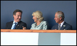 Image licensed to i-Images Picture Agency. 23/07/2014. Glasgow, United Kingdom. The Prime Minister David Cameron and his wife Samantha and The Prince of Wales and The Duchess of Cornwall  join The Queen with The Duke of Edinburgh during the opening ceremony of  the Commonwealth Games in Glasgow.. Picture by Andrew Parsons / i-Images