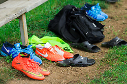 Shoes during practice session of Slovenian National Football team before Euro 2016 Qualifications against Estonia, on September 6, 2014 in Lesce, Slovenia. Photo by Vid Ponikvar  / Sportida.com