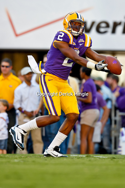 October 16, 2010; Baton Rouge, LA, USA; LSU Tigers wide receiver Rueben Randle (2) during warm ups prior to kickoff against the McNeese State Cowboys at Tiger Stadium. LSU defeated McNeese State 32-10. Mandatory Credit: Derick E. Hingle