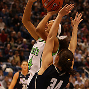Skylar Diggins, Notre Dame, is called for an offensive foul on Kelly Faris, Connecticut, during the Connecticut V Notre Dame Final match won by Notre Dame during the Big East Conference, 2013 Women's Basketball Championships at the XL Center, Hartford, Connecticut, USA. 11th March. Photo Tim Clayton