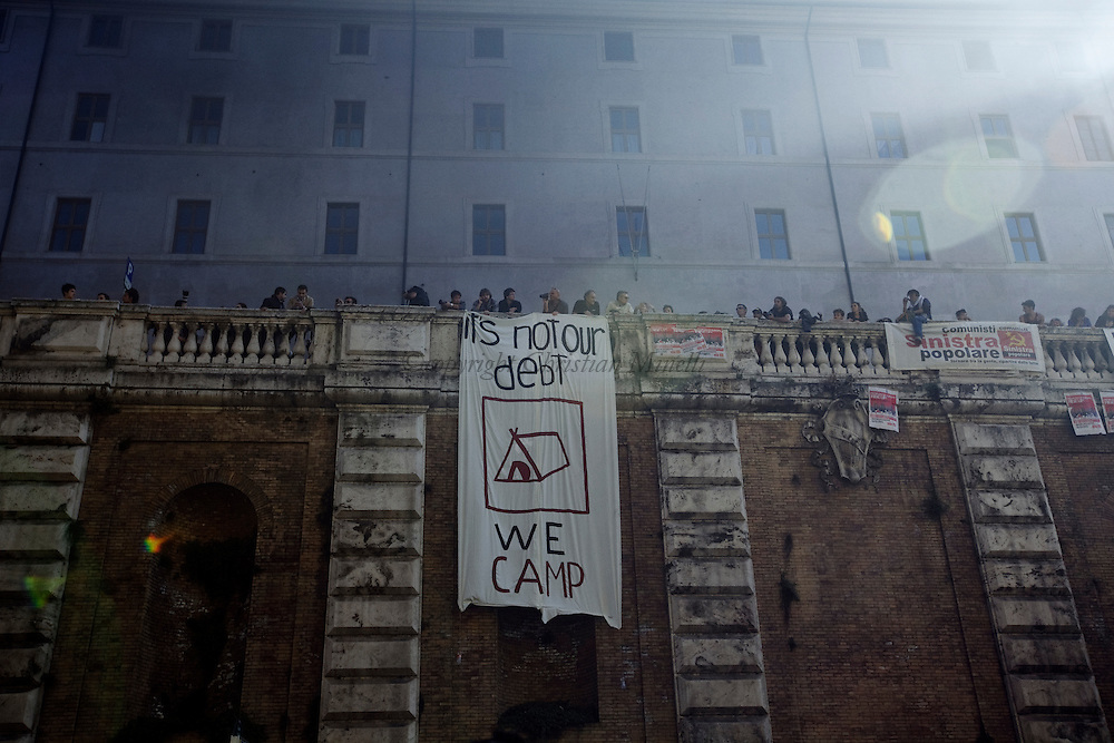 ITALY, Rome, October 15, 2011: Demonstrators show banners during a  demonstration in Rome on October 15, 2011. © Christian Minelli/Emblema.