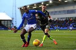 Billy Bodin of Bristol Rovers challenges Ousmane Fane of Oldham Athletic - Mandatory by-line: Robbie Stephenson/JMP - 30/12/2017 - FOOTBALL - Sportsdirect.com Park - Oldham, England - Oldham Athletic v Bristol Rovers - Sky Bet League One