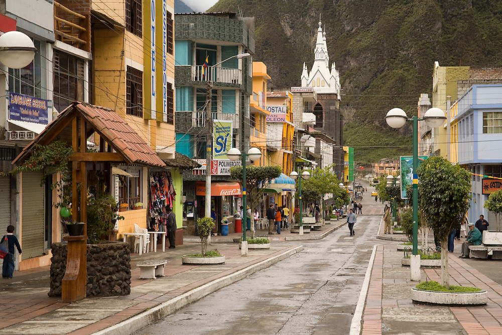 South America, Ecuador, Banos, main street lined with shops and restaurants