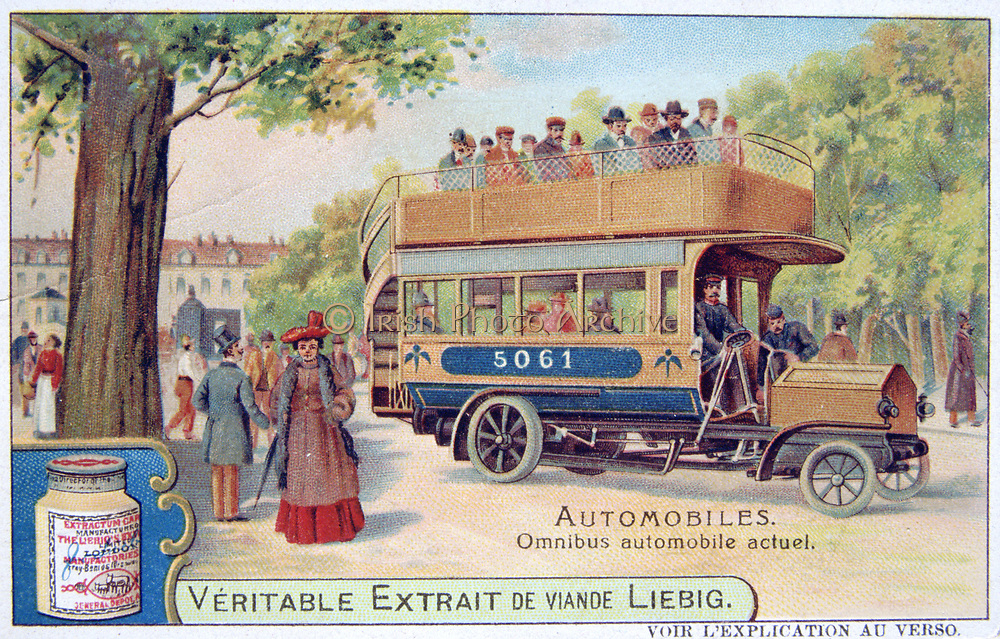 Motorised omnibus with glazed lower passenger and open upper deck accessed by outside staircase.   Liebig Trade Card c1910. Transport Public Automobile