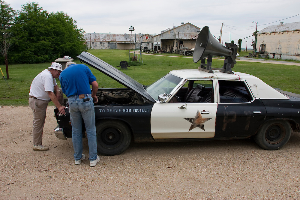 The original blues-mobile from the motion picture The Blues Brothers at Hopson Plantation, home to the Shack-Up Inn, outside of Clarksdale, Miss., 2007.