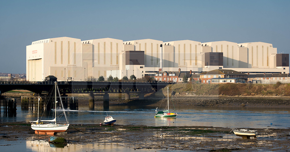 (c) Licenced to London News Pictures 09/04/2015. Barrow-in-Furness, Cumbria, England. General views of the Devonshire Dock Hall at BAE Systems in Barrow. The Trident nuclear submarine project, which is planned to be built by BAE Systems in Barrow, has an uncertain future due to the potential of a Labour/SNP government. Photo credit : Harry Atkinson/LNP