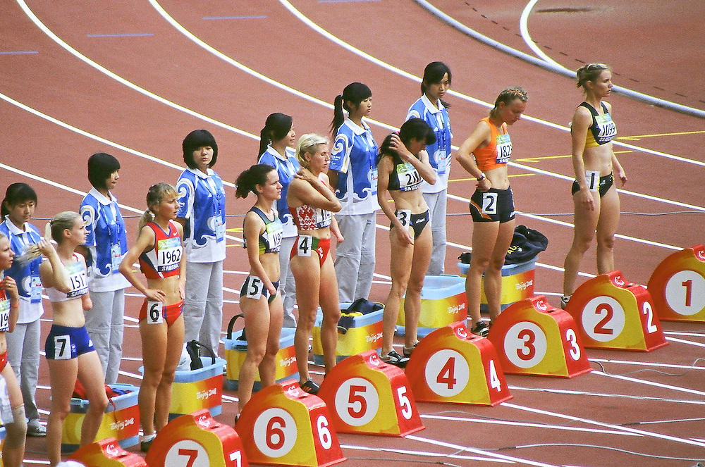 Paralympics Day 3 - Beijing 2008<br /> Women 100m T46 Round 1 heat 1<br /> Runners are preparing in the women 100m T46 Round 1 heat 1, morning of the day 3 of the Paralympic Games (september 09 2008). From right: SMITH Julie (Aus), METTES Marijke (Ned), RUDKIVSKA Tetyana (Ukr), LEANTSIUK Iryna (Blr), FINDER Sheila (Bra), MOGUSHAYA Alexandra (Rus), ARNOLD Kate (GBR), RODOMAKINA Nikol (Rus), FIODOROW Alicja (Pol).<br /> High Resolution available.