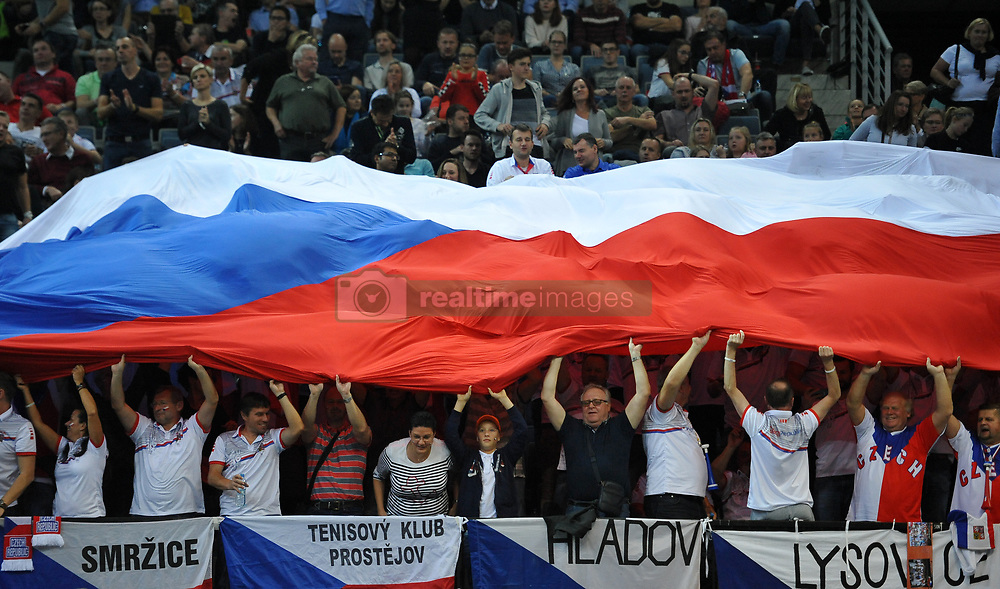 November 10, 2018 - Prague, Czech Republic - Fans of the Czech Republic celebrate after winnig game during the 2018 Fed Cup Final between the Czech Republic and the United States of America in Prague in the Czech Republic. (Credit Image: © Slavek Ruta/ZUMA Wire)