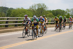 Javier Zapata (Caico) in the race leader's green jersey leads the break across the James River into Scottsville, VA.  Stage 7, the final stage of the Tour of Virginia, started and finished just off of Charlottesville's historic downtown mall on April 29, 2007.  The stage took country roads through Albemarle and Buckingham Counties, passing through the University of Virginia, the town of Scottsville, and Thomas Jefferson's Monticello before finishing in a series of circuits around downtown Charlottesville, VA.